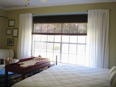 Use two small curtain rods on the side instead of one long curtain rod, add extra curtains for fullness