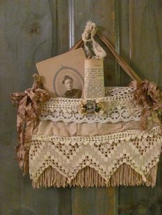 Vintage Luggage pocket old suitcase pocket altered with lace and ribbons~ Shabby Vintage, Vintage Crafts, Vintage Lace, Victorian Crafts, Fabric Art, Fabric Crafts, Old Suitcases, Vintage Luggage, Linens And Lace