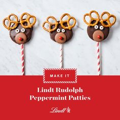 This fun take on a classic peppermint patty is equal parts treat and craft. #lindtheseason#recipe #christmasideas #christmasrecipe #desserts #nobake #videodiy #videorecipe #rudolph #peppermint #lindor #lindt #truffles #chocolate #christmas
