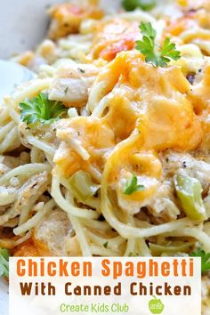 Creamy Chicken Pasta is a simple chicken spaghetti bake your whole family will love! Made with canned chicken, rotisserie chicken, or leftover chicken, this dinner meal comes together in just 30 minutes! Baked Chicken Spaghetti, Spaghetti Bake, Chicken Spaghetti Casserole, Cheesy Chicken Pasta, Chicken Pasta Recipes, Canned Chicken, Easy Pasta Recipes, Creamy Chicken, Rotisserie Chicken