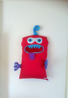 Monster Laundry Bag, Awesome Red, Blue & Purple double Eyed Friendly Monster, A Pet, Bag, dress Up Easter, teens, boys, kids, guys, men's by ColourMeldDesigns on Etsy