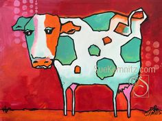 Cow Art, Mini Paintings, Doodle Art, Whimsical, Birds, The Originals, Canvas, Mixed Media, Animals