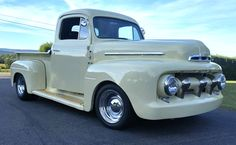 "How About a Thumbs Up For This 1950 Ford F-1, Owned by Dustin Maurer? ""Coyote 5.0L crate engine mated to an MT-82 6 speed trans. Mustang II front Coil-over suspension, 4-Link Coil-over rear, Ford 9"" posi 3.70 gears Dakota Digital dash, 325/5015 Nitto Tire 555's on the rear, Full tilt front end, Custom Oak bed and Oak trim on the running boards and door panels. Custom console and Seats from an '86 Jaguar. All built By my Dad and I."" #truckyeah #trucktuesday #headturnertuesday…"
