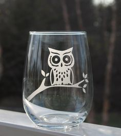 Hey, I found this really awesome Etsy listing at http://www.etsy.com/listing/120285980/etched-stemless-wine-glass-owl-wine