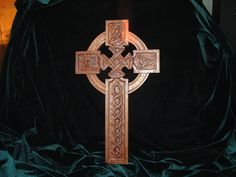 Hand Carved Mahogany Celtic Cross with Celtic Knot