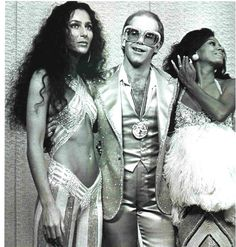 Elton flanked by Cher and Diana Ross 1975