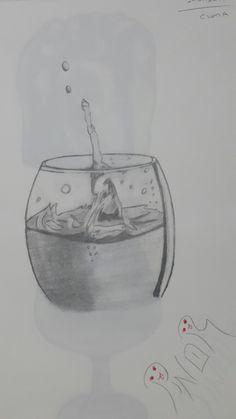 Karakalem çizim glasses bardak