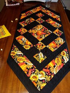 Sunflower Table Runner with Ladybugs, Summer Table Decor, PDF Quilt Pattern Patchwork Table Runner, Table Runner And Placemats, Table Runner Pattern, Quilted Table Runners, Fall Table Runner, Thanksgiving Table Runner, Halloween Table Runners, Table Topper Patterns, Quilted Table Toppers