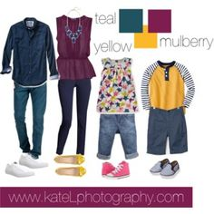 Teal + Yellow + Mulberry // Family Outfit