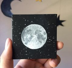 Sale - Full Moon Mini Painting with Mini Easel - Moon Phases - Lunar - Universe - Mini Art - Moon Painting - Full Moon - Acrylic - Star Pain Small Canvas Paintings, Easy Canvas Art, Small Canvas Art, Easy Canvas Painting, Mini Canvas Art, Moon Painting, Small Paintings, Diy Painting, Painting & Drawing