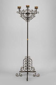 Italian Renaissance lighting floor lamp/torch�re wrought iron
