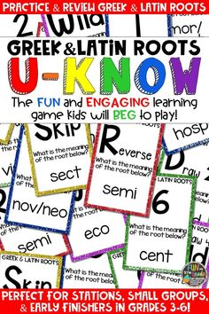 Students love playing U-Know games for fun REVIEW of Greek and Latin roots or for test prep. It's a perfect activity for any small group or station, and great for early finishers. Greek and Latin Roots U-Know is a fun learning game played similar to UNO except if you get an answer wrong, you have to draw two! Students will beg to practice vocabulary in this way! Available in MANY other topics, too!