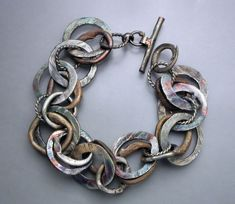 Silver and Bronze Bracelet 9 by Temi on Etsy, $290.00