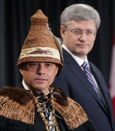Assembly of First Nations National Chief Shawn Atleo and Prime Minister Harper at the Crown-AFN Summit in January, The Crown, First Nations, Winter Hats, Prime Minister, School Stuff, Turtle, January, Politics, Men
