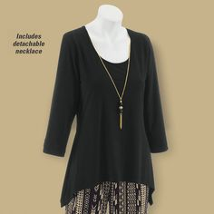 e777748f90d Necklace-Accent Sharkbite Top - Women's Clothing – Casual, Comfortable &  Colorful Styles – Plus Sizes. Just ordered this outfit.