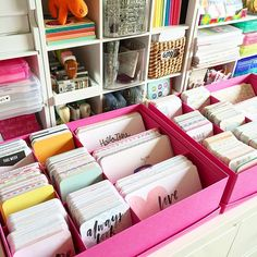 IKEA TJENA boxes = perfect #projectlife core kits organization, so you can see all your kits at once.