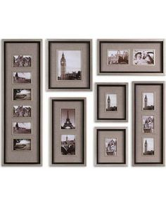 Uttermost Massena Photo Frame Collage - Set of Collection Of Frames Features A Lightly Antiqued Silver Leaf Finish With A Matte Black Liner Photos Are Surrounded By Oatmeal Linen Mats May Be Hung Horizontal Or Vertical Holds Photo Sizes Sizes Picture Frame Sets, Collage Picture Frames, Picture Wall, Wall Collage, Frames On Wall, Photo Wall, 5x7 Frames, Collage Photo, White Picture