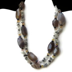 Long Chunky Semipresious Gray Agate Statement by ALFAdesigns, $99.99
