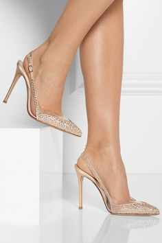 Hand-finished  Heel measures approximately 105mm/ 4 inches Beige satin PVC panels, crystal embellishment, pointed toe Buckle-fastening slingback strap