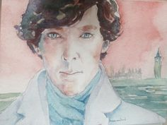 Original painting of Benedict Cumberbatch as Sherlock- donated by artist Bonnie MacBird as a raffle prize in the Guinness record attempt in London on July 19th, 2014.