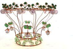 """Where Adam met Eve""  Wirework crown of copper, jade and amethyst. #bridal #wirework"