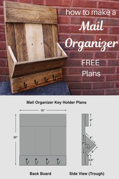 Learn how to make a mail organizer and key holder. I used pallet boards to make this beautifully rustic organizer. I'll take you step-by-step through the build process and you get FREE Plans. Diy Wall Art, Diy Wall Decor, Diy Home Decor, Mail And Key Holder, Mail Holder, Cd Diy, Diy Pallet Wall, Rustic Wood Decor, Creative Wall Decor