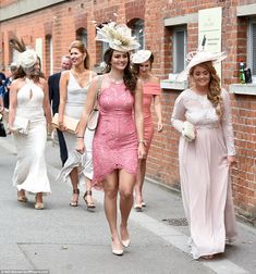 Royal Ascot, June 17, 2016. A parade of glamorous girls make their way to the race course