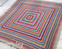 Retro Crochet Blanket ~ Modern Vintage Granny Square Afghan ~  Multicolour Crochet Throw ~ Home, Camping, Festival, Garden ~ Made to Order