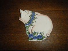 """Blue Sky - Elisabeth Pahle collection - cute """"Pig"""" Plate #BlueSky"""