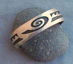 Vintage Hopi  Silver Overlay Eldon James Cuff Bracelet Hallmarked