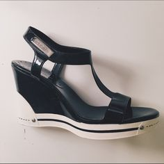 "BCBG Sandals (Black) BCBG Sandals. Black patent material. Velcro fastener around ankle. Platform of 1"" with top to bottom 4"" heel. Excellent condition. BCBGirls Shoes Heels"