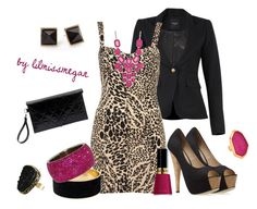 """""""Mixing it Up: Animal Print & Magenta"""" by lilmissmegan ❤ liked on Polyvore featuring Smythe, Gareth Pugh, Sequin, Revlon, Cheap Monday, Forever 21 and Miso"""