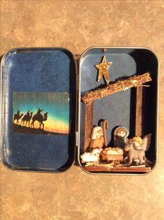 Miniature Nativity ... Travel Nativity Christmas Nativity Scene, Nativity Crafts, Christmas Makes, A Christmas Story, Christmas Projects, Holiday Crafts, Vintage Christmas, Christmas Holidays, Christmas Decorations