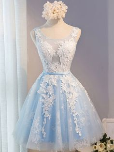 Short blue lace prom bridesmaid formal dress,5158