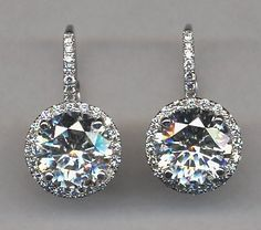 Micro set diamond drop earring all sizes and shapes available most in stock.