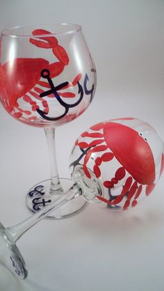 Nautical hand painted crab wine glasses with anchors, painted wine glasses with crabs, nautical glassware, mother's day gift - set of 2 by RaeSmith on Etsy https://www.etsy.com/listing/88181802/nautical-hand-painted-crab-wine-glasses
