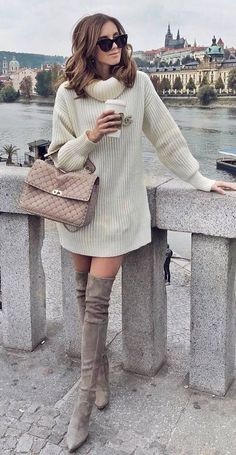 fall nude palettes / sweater dress + bag + over the knee boots