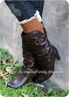 Lace and Button Leg Warmers / Boot Socks In Camel.
