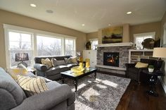 Gray and Yellow Living Room- Highmark Builders