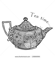 Floral designed tea pot on simple white background. Description from shutterstock.com. I searched for this on bing.com/images