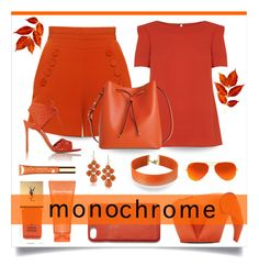 """Orange monochrome"" by outfitsloveyou ❤ liked on Polyvore featuring Finders Keepers, Oasis, Lodis, Gianvito Rossi, 1st & Gorgeous by Carolee, Vanessa Mooney, Yves Saint Laurent, Loewe, Ray-Ban and Madewell"