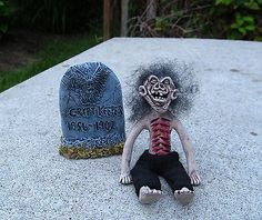 Miniature Dollhouse Crypt Keeper Doll With Gravestone best creepy artisan! Kim Keep it Kraven!
