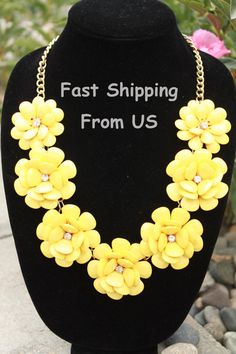 Neon statement necklace perfect with a simple black dress all 20 yellow flower rose j crew bubble necklace statement necklace yellow rosette jewelry yellow mightylinksfo Choice Image