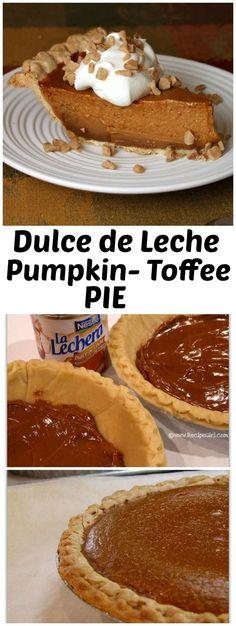 Dulce de Leche Pumpkin- Toffee Pie recipe - from http://RecipeGirl.com