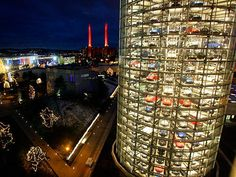 vertical parking lot at Volkswagen's production facility - Wolfsburg Germany