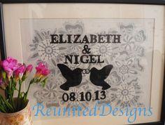Beautiful Personalised Anniversary hand drawn by ReunitedDesigns, £25.00