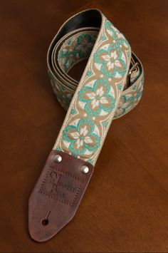 Beige/Ivory/Blue Vintagestyled Guitar Strap by nowherebearstraps, $55.00
