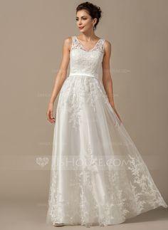 [€ 199.87] A-Linie/Princess-Linie V-Ausschnitt Bodenlang Tüll Brautkleid mit Applikationen Spitze