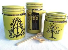 Geek Triumverate Canister Set - Harry   Potter, Doctor Who, and Lord of the Rings. These are amazing!!