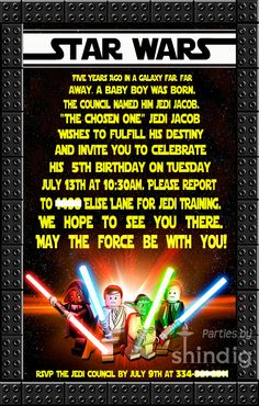 Amanda's Parties TO GO: Star Wars: Party Details invitation wording